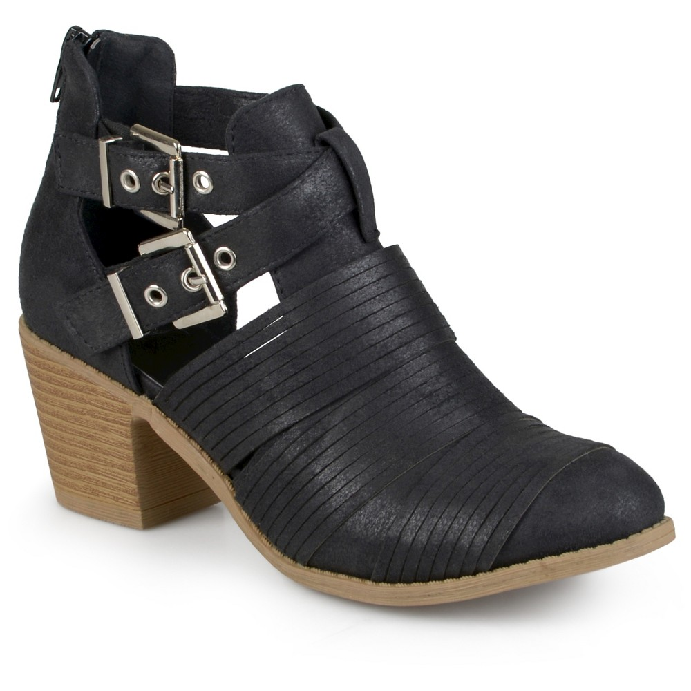 Womens Journee Collection Tiff Faux Leather Cut Out Booties - Black 8.5