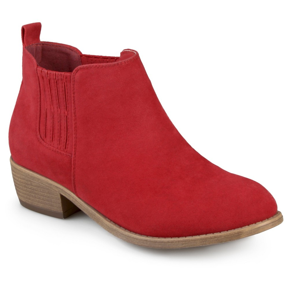 Womens Journee Collection Ramsey Faux Suede Stacked Heel Booties - Red 6