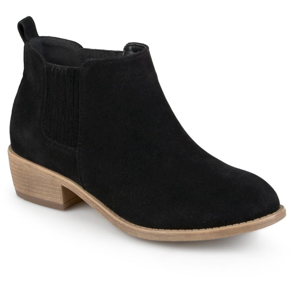Womens Journee Collection Ramsey Faux Suede Stacked Heel Booties - Black 7