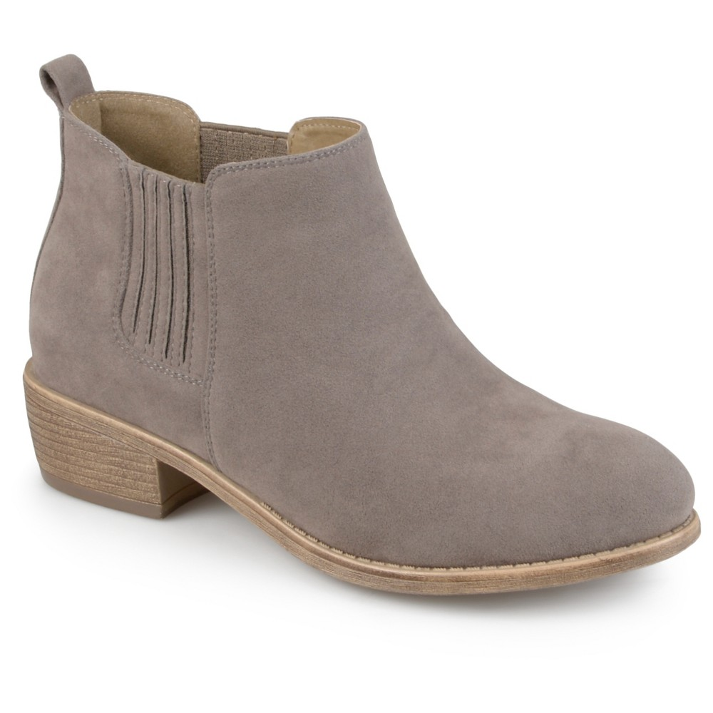 Womens Journee Collection Ramsey Faux Suede Stacked Heel Booties - Gray 6.5