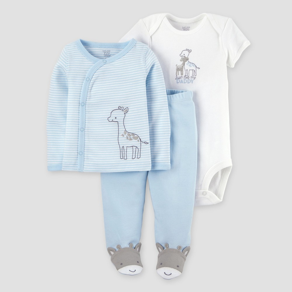 Baby Boys 3pc Side Snap T-Shirt Giraffe Layette Set - Just One You Made by Carters Blue Pre, Size: Preemie