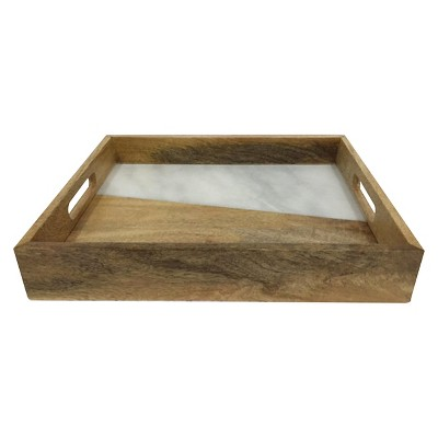 Wood & Marble Inlay Tray - Threshold™