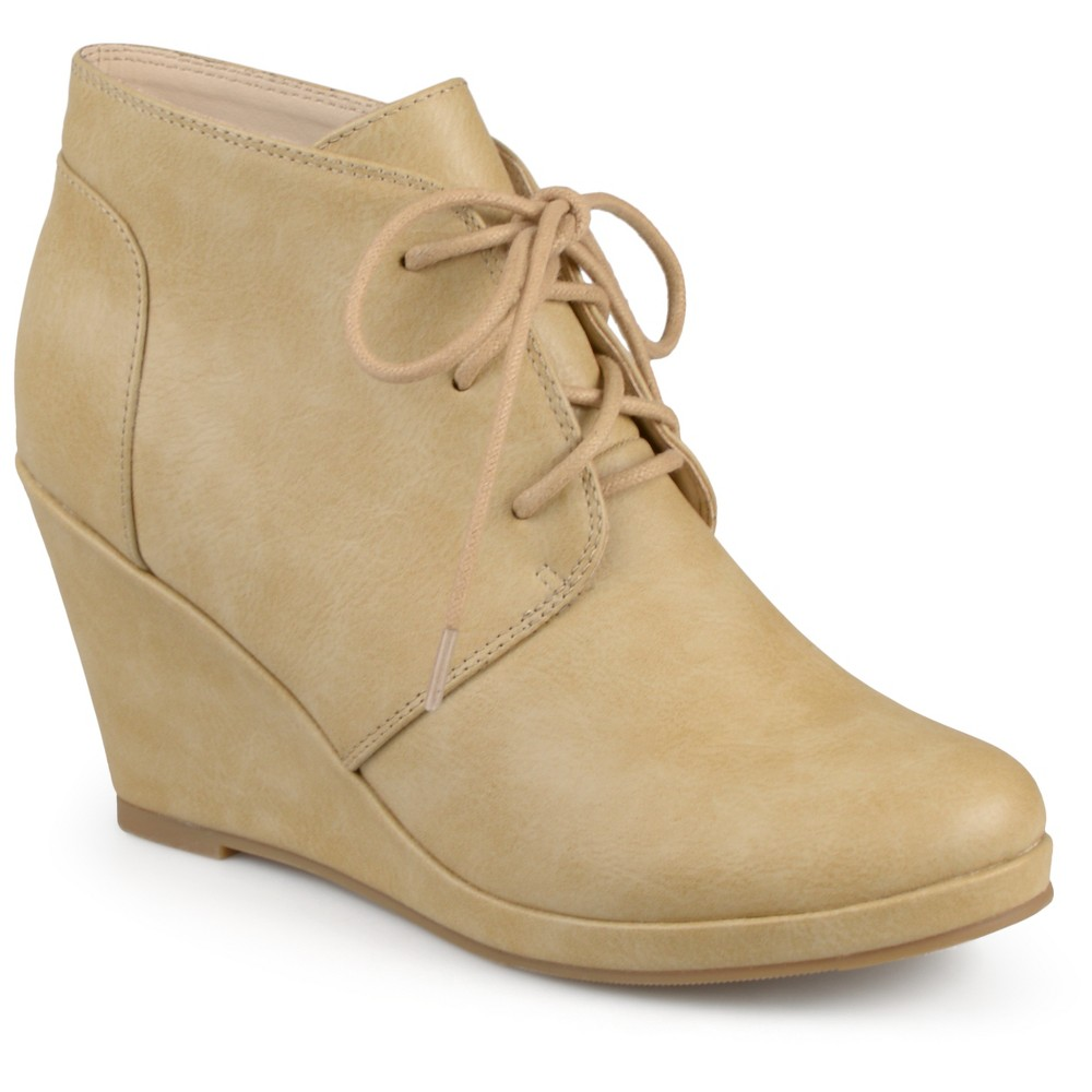 Womens Journee Collection Gentry Lace Up Vegan Wedge Booties - Tan 8.5