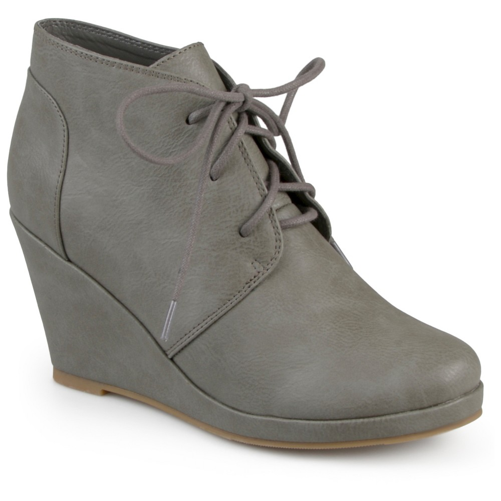 Womens Journee Collection Gentry Lace Up Vegan Wedge Booties - Gray 11