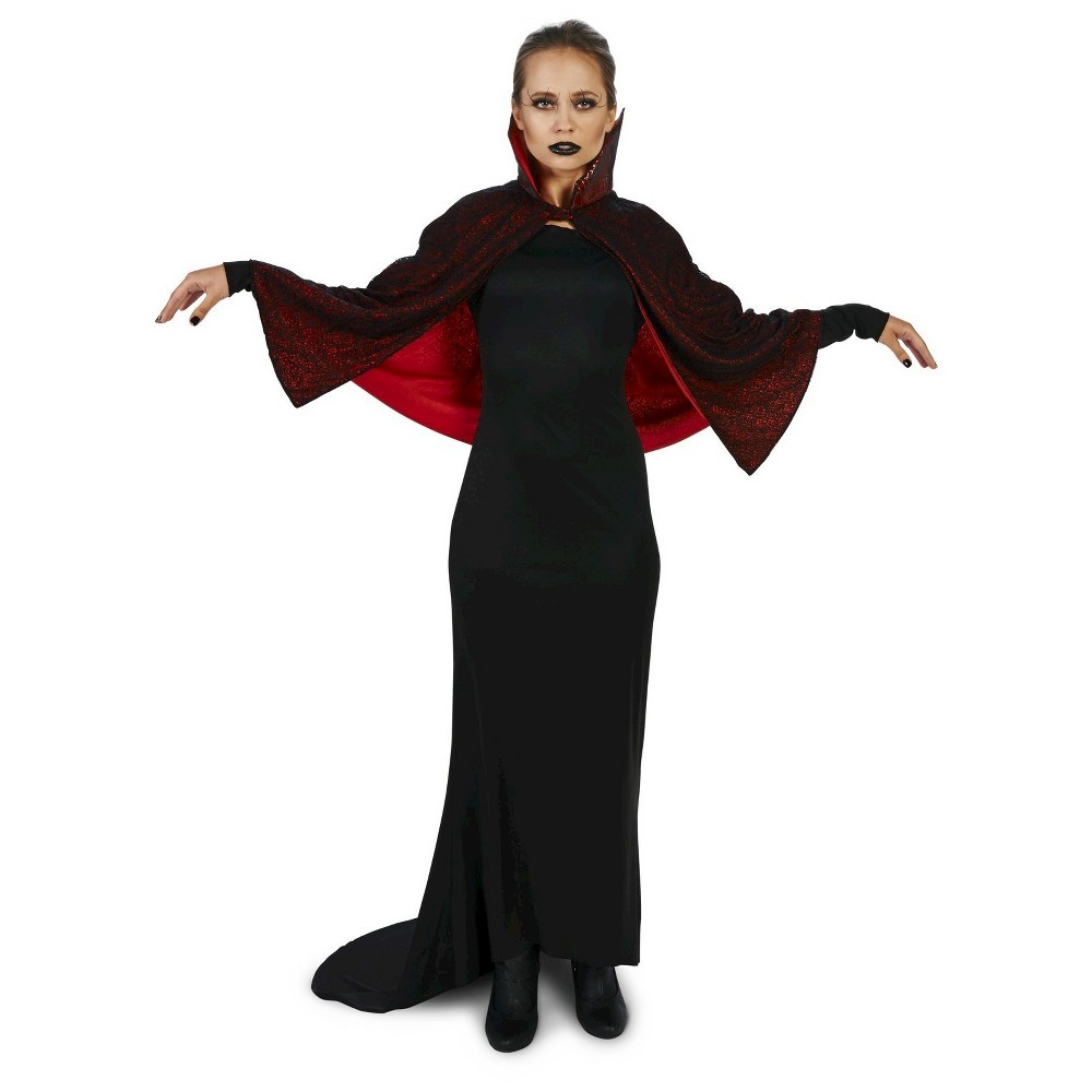 Seductive Vampire Dress With Capelet Womens Costume Large, Black