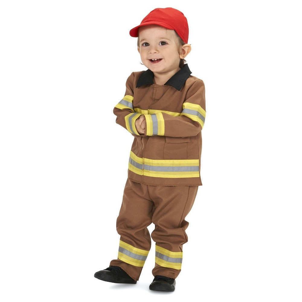 Brave Tan Firefighter with Cap Baby Costume 18-24 Months, Infant Boys, Brown