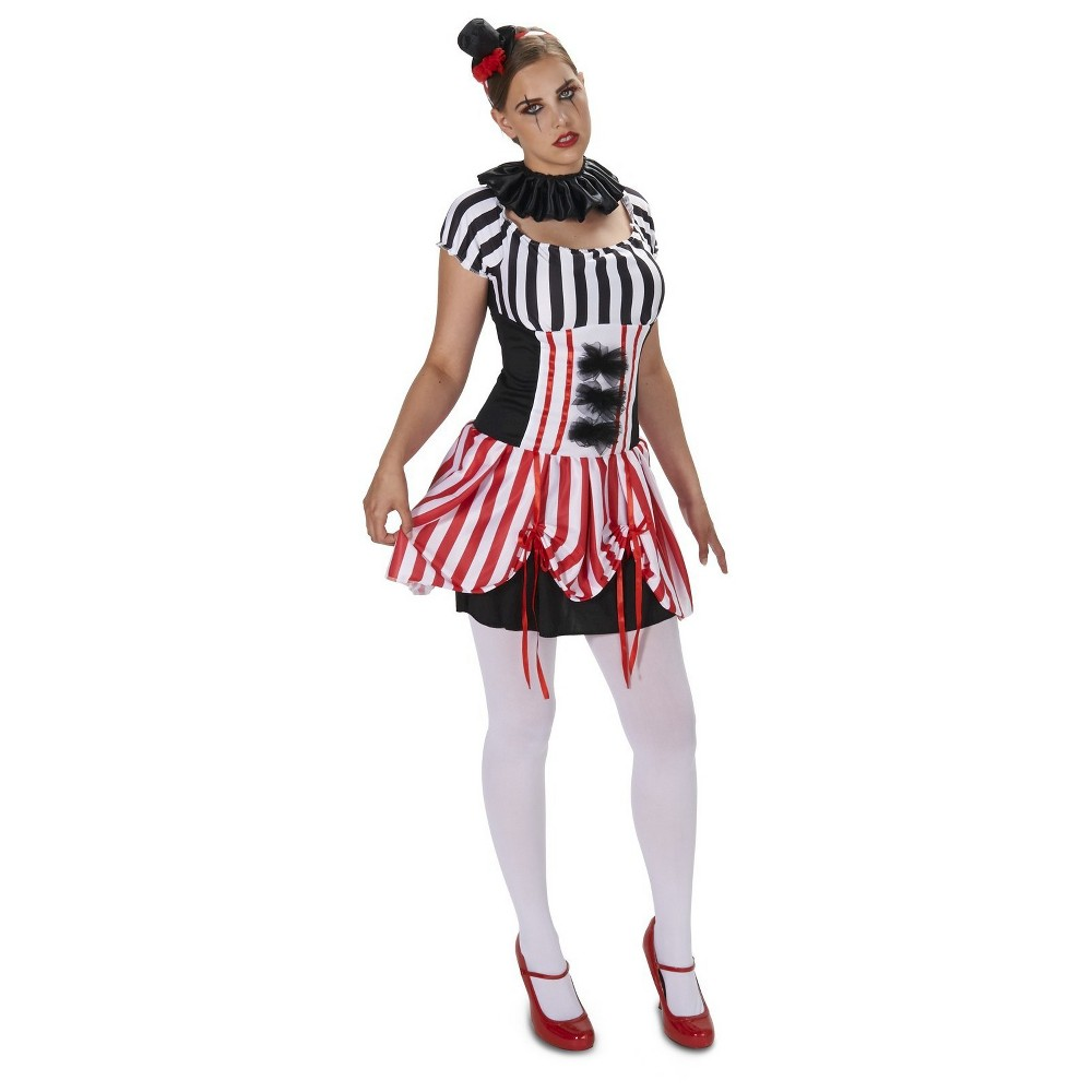 CarnEvil Vintage Striped Dress Womens Costume Large, Black