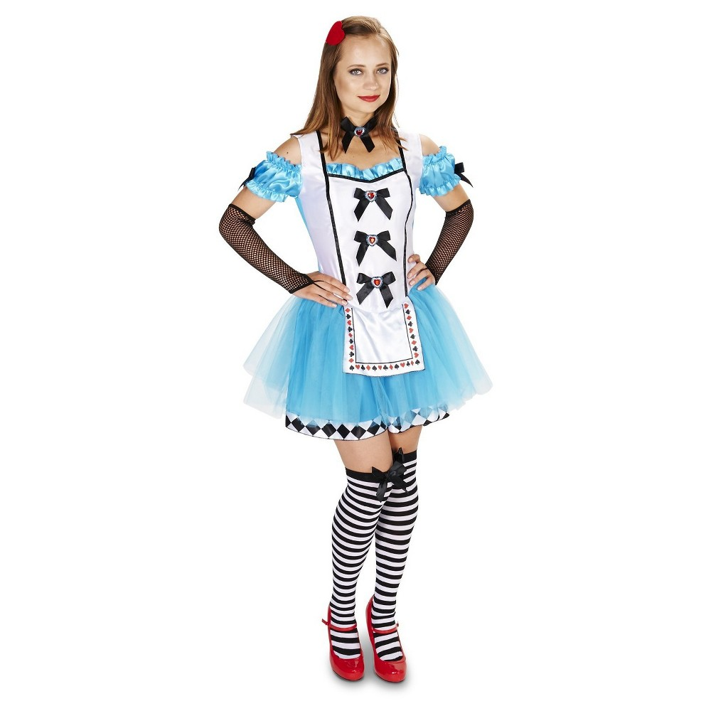 Alice Womens With Thigh High Glovelettes And Hair Clip Costume Small, Blue