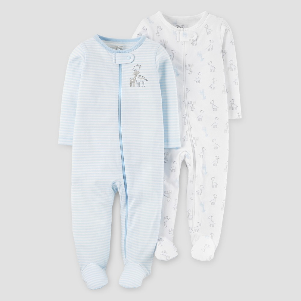 Baby Boys 2pk Giraffe Sleep N Play - Just One You Made by Carters Blue 3M, Size: 3 M
