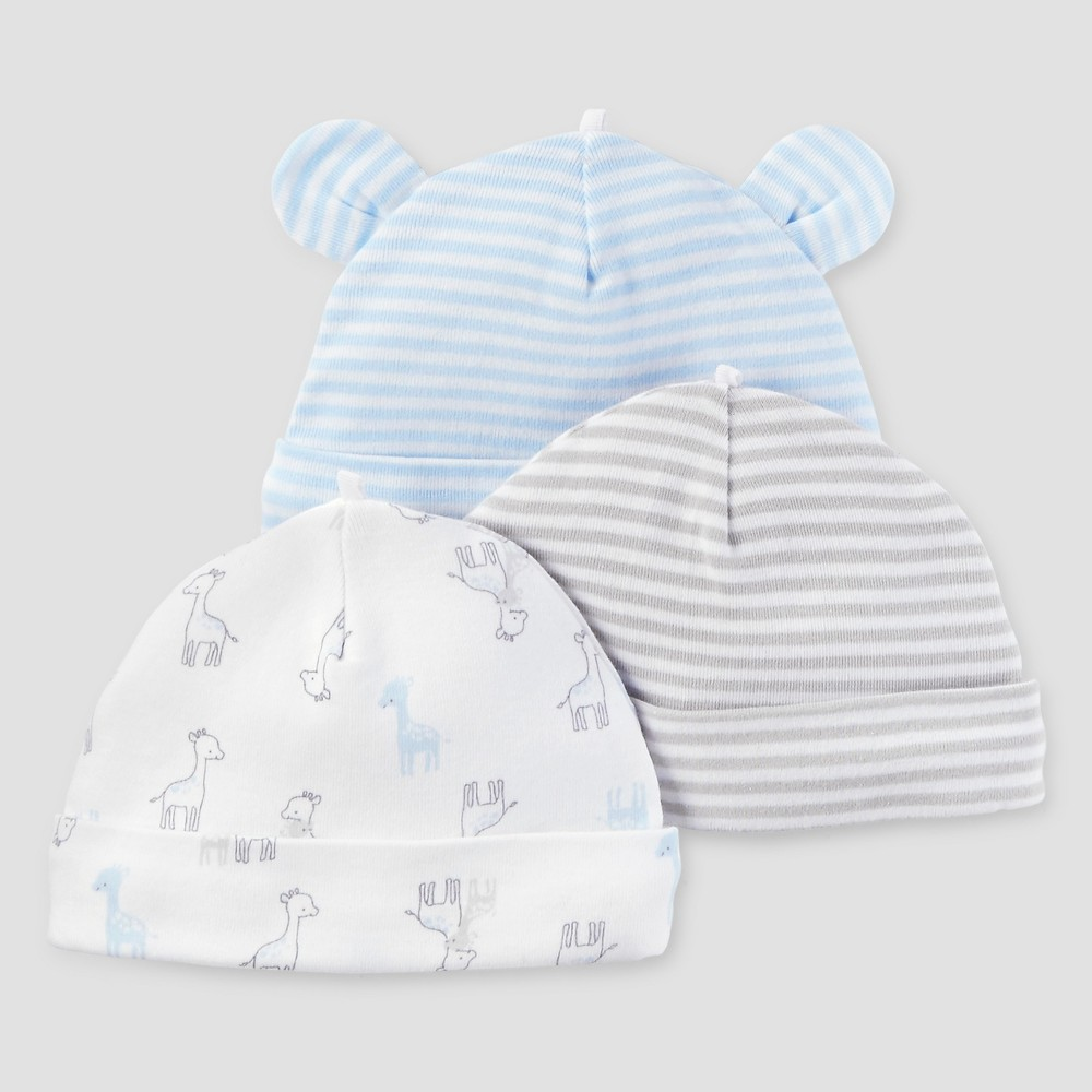 Baby Boys 3pk Cap Set - Just One You Made by Carters Blue, Size: 0-3 M, Spa Blue