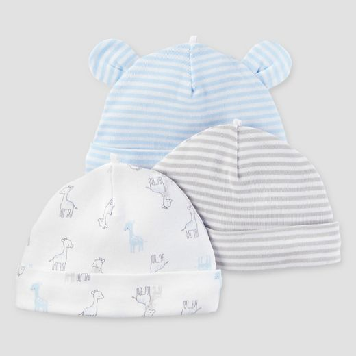 Baby Boys' 3pk Cap Set - Just One You™ Made by Carter's® Blue