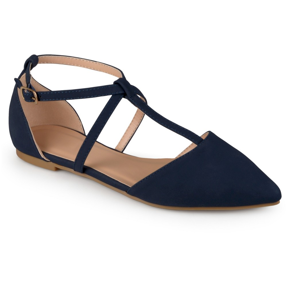 Womens Journee Collection Keiko Dorsay T-Strap Flats - Blue 7