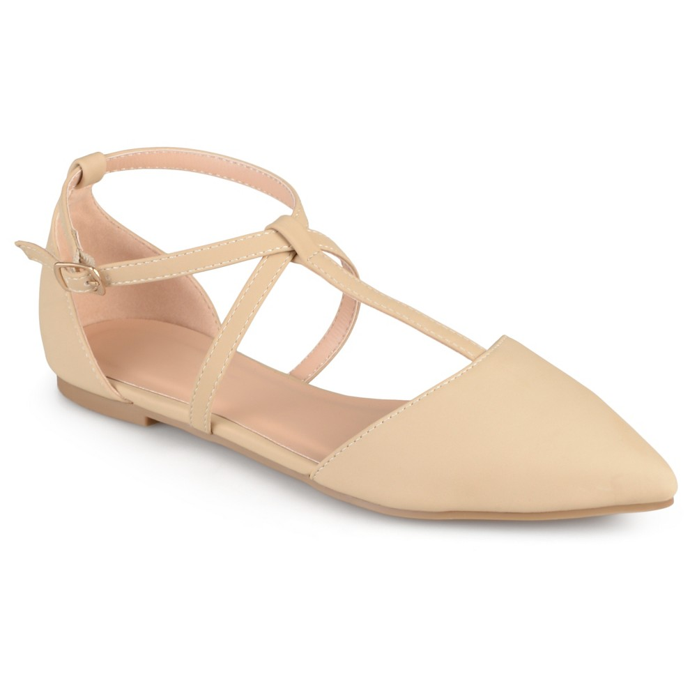 Retro Vintage Flats and Low Heel Shoes Womens Journee Collection Keiko Dorsay T-Strap Flats - Nude 7 $32.99 AT vintagedancer.com