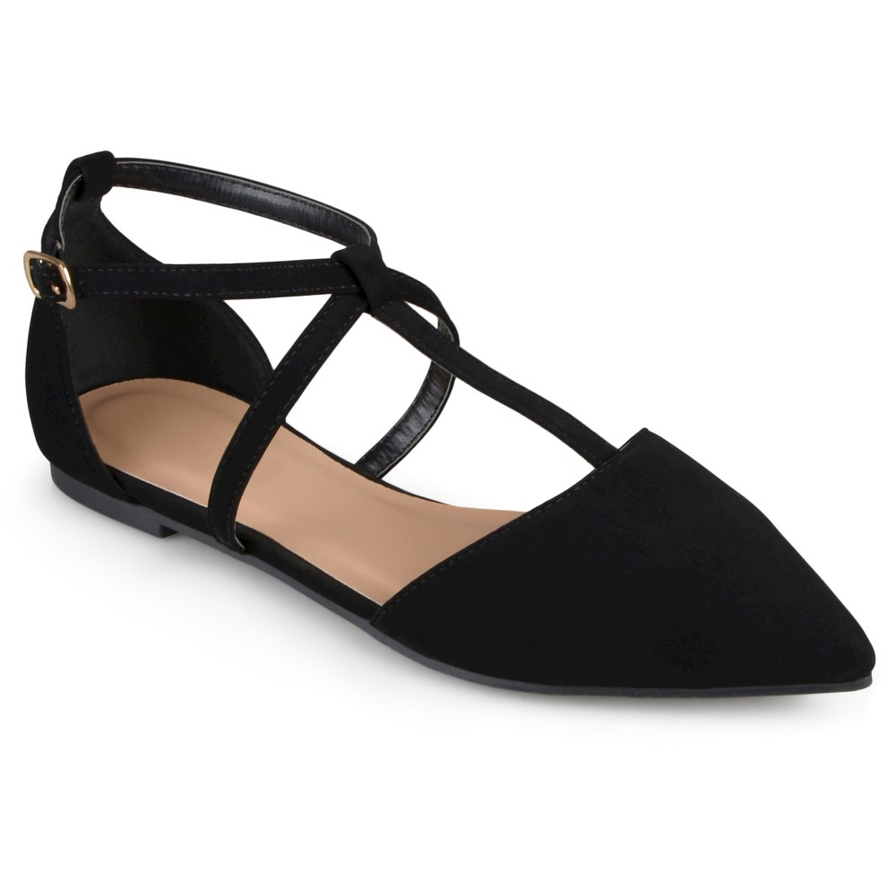 Womens Journee Collection Keiko Dorsay T-Strap Flats - Black 6