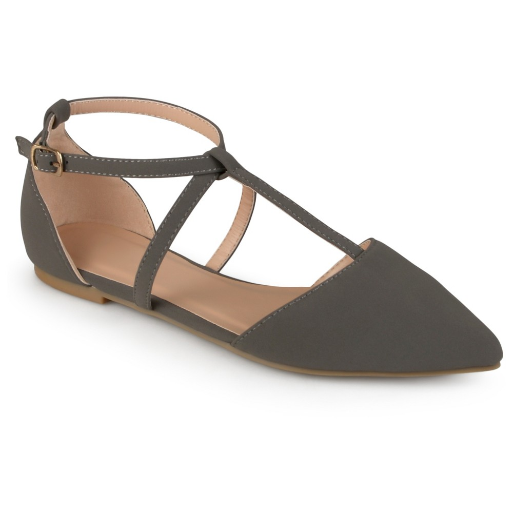 Womens Journee Collection Keiko Dorsay T-Strap Flats - Gray 6