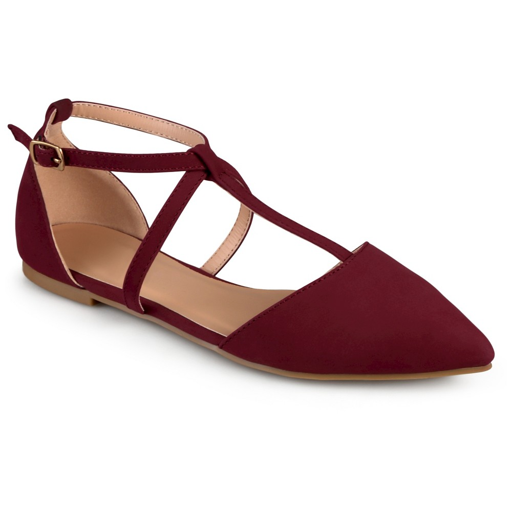 Journee Collection Keiko D'orsay T-Strap Flats - Wine 6.5, Red