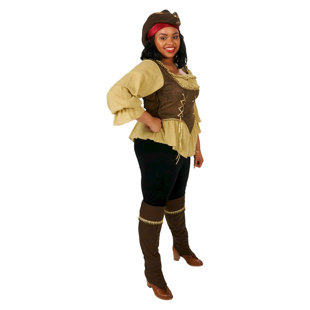 Womens Plus Size Runaway Pirate Queen Costume 1X, Multicolored