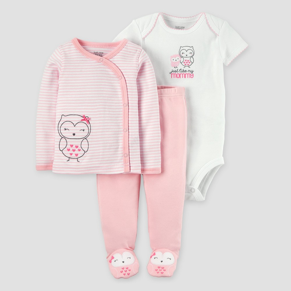 Baby Girls 3pc Owl Side Snap T-Shirt Layette Set - Just One You Made by Carters Pink 3M, Size: 3 M
