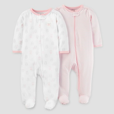 Baby Girls' 2pk Sleep N' Play - Just One You™ Made by Carter's® Owl - Pink/White NB