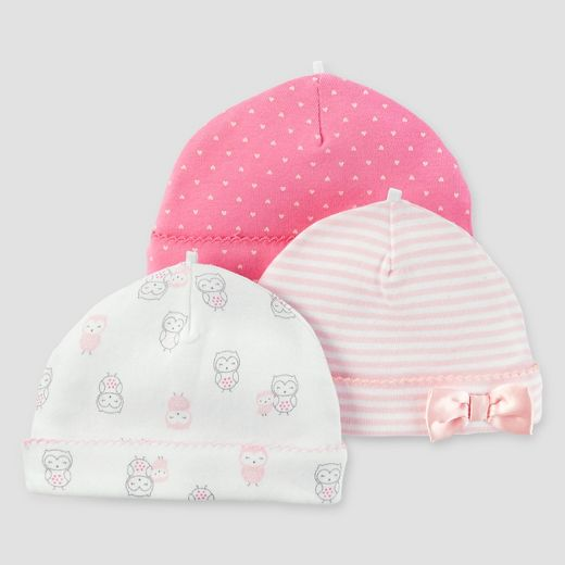 Baby Girls' 3pk Cap Set - Just One You™ Made by Carter's® Pink/White OS3