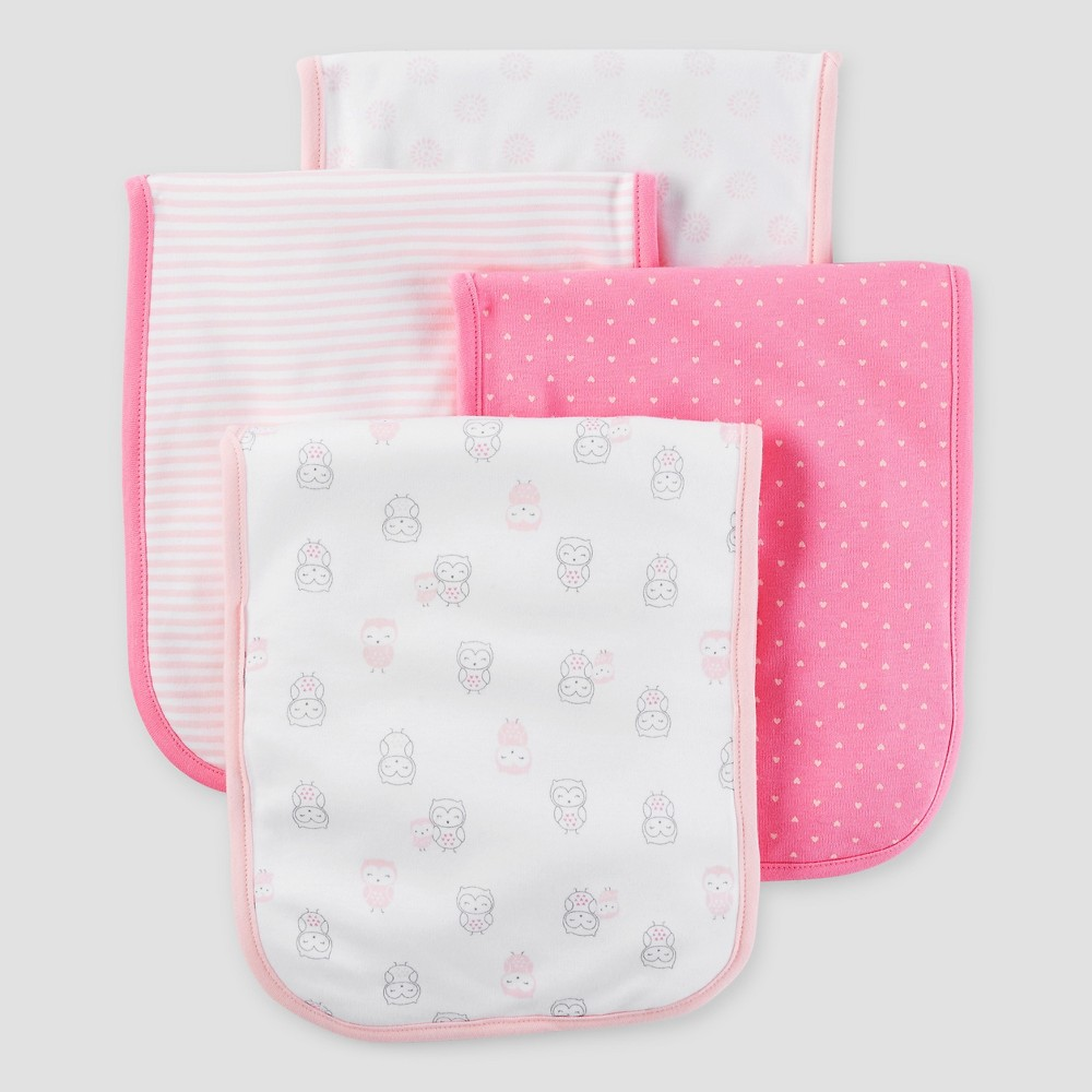 Baby Girls' 3 Pack Burp Cloth Set Pink/White Osz – Just One You Made by Carter's, Always Rosy