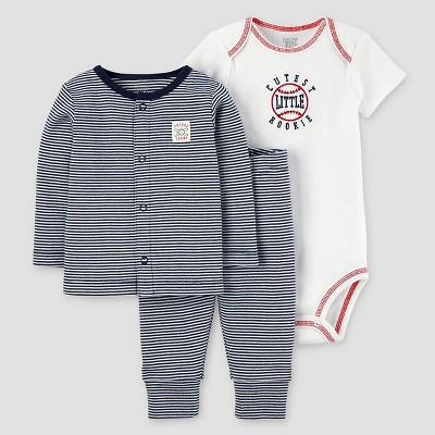 Baby Boys' 3pc Striped Baseball Cardigan Set - Just One You™ Made by Carter's® Navy/White 3M