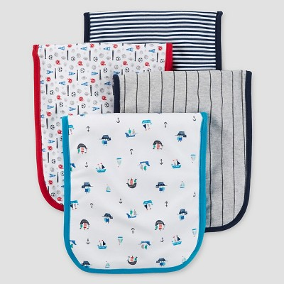 Baby Boys' 4pk Burp Cloth Set - Just One You™ Made by Carter's® Sailboats Blue/Gray/White