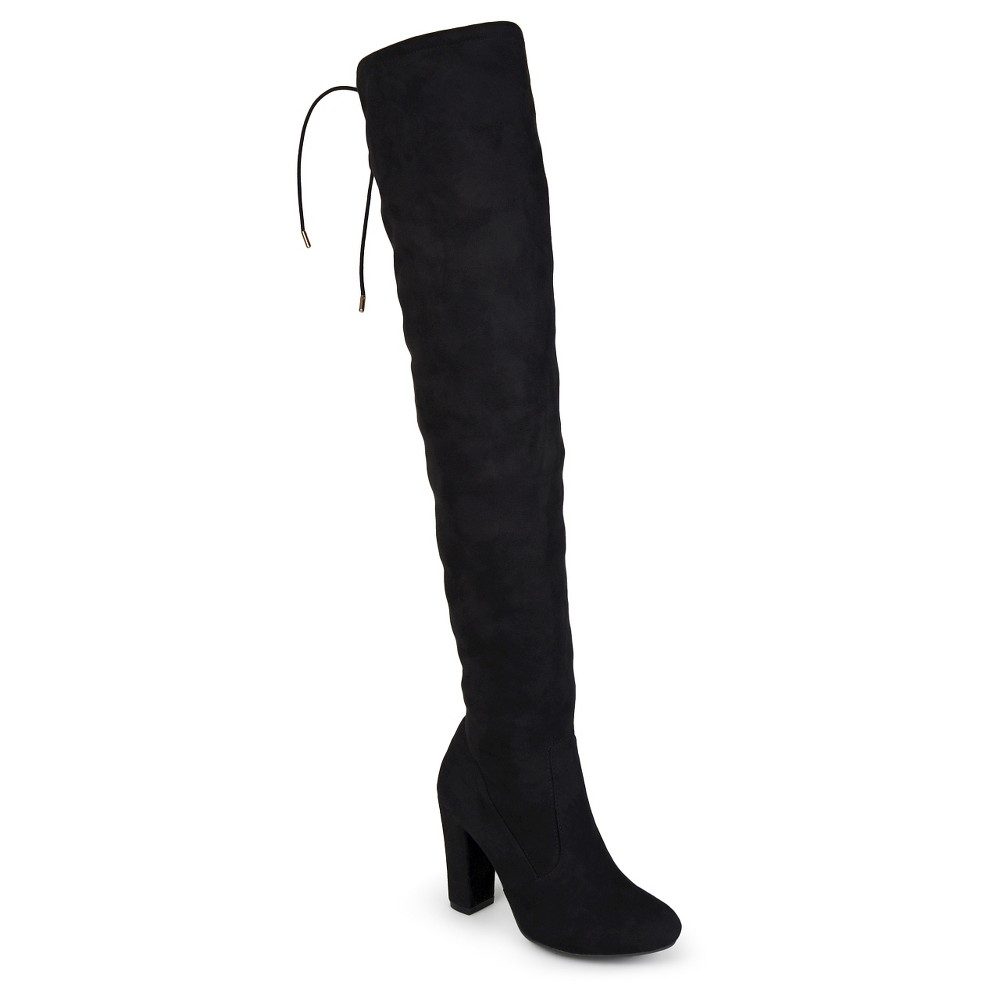 Womens Journee Collection Wide Width Maya Faux Suede Over the Knee Boots - Black 9W, Size: 9 Wide