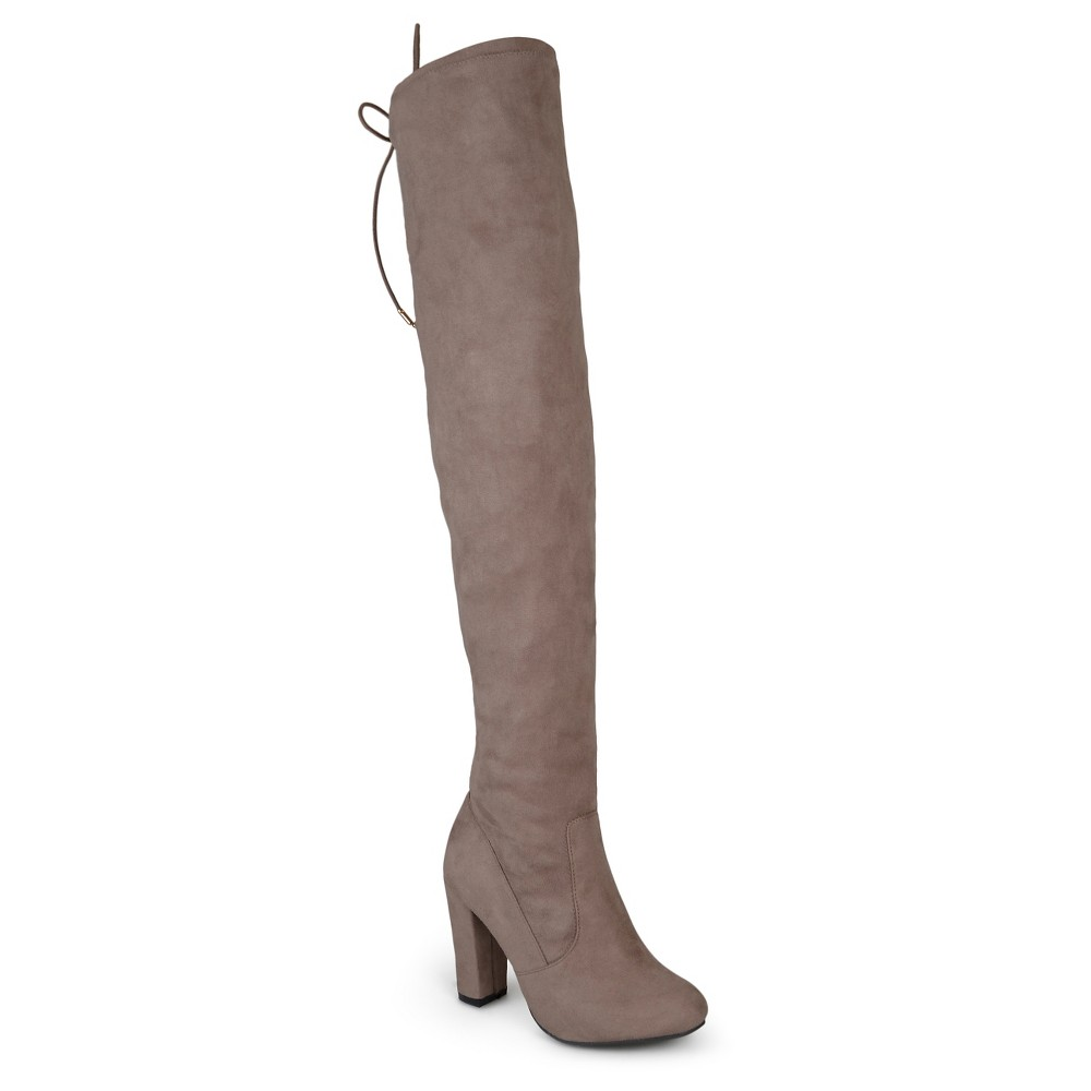 Womens Journee Collection Wide Width Maya Faux Suede Over the Knee Boots - Taupe 7W, Size: 7 Wide, Taupe Brown