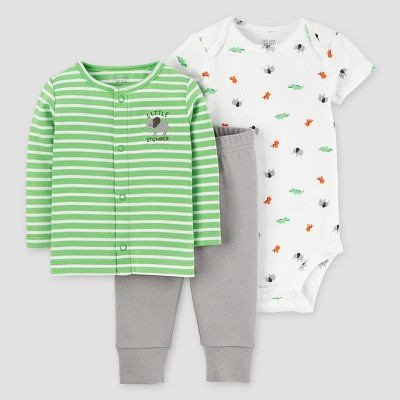 Baby Boys' 3pc Cardigan Set - Just One You™ Made by Carter's Green/Gray 9M