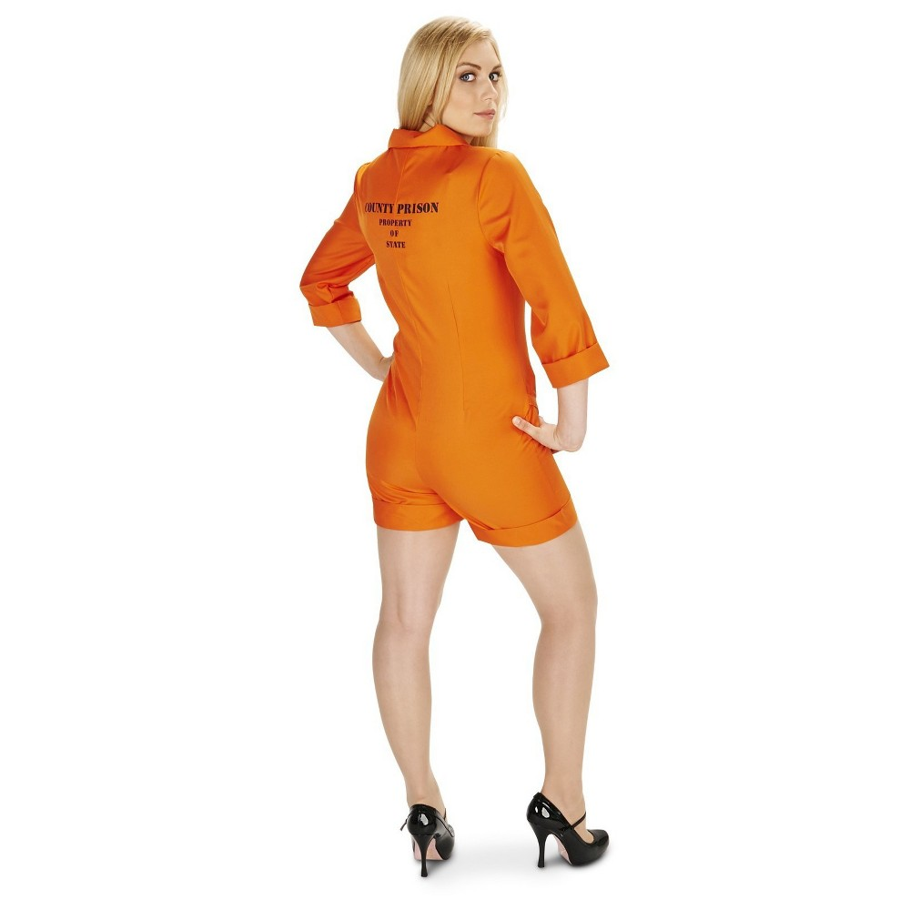 Women Prison Jumpsuit Costume - Large, Orange