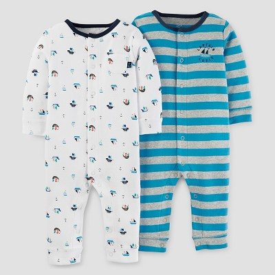 Baby Boys' 2pk Striped Jumpsuit Set - Just One You™ Made by Carter's Blue/Gray/White NB