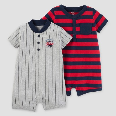 Baby Boys' 2pk Baseball One Piece Romper - Just One You™ Made by Carter's® Gray/Red/Navy NB