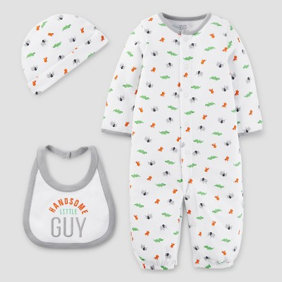 Baby Boys' 3pc Converter Gown Set - Just One You™ Made by Carter's White/Gray NB