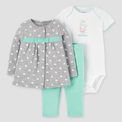 Baby Girls' 3pc Bow Cardigan Set - Just One You™ Made by Carter's® Gray Mint 6M