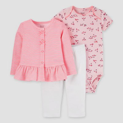 Baby Girls' 3pc Cardigan Set - Just One You™ Made by Carter's® French Pink 6M