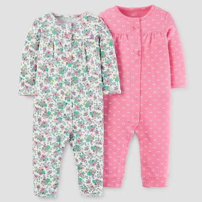 Baby Girls' 2pk Jumpsuit Set - Just One You™ Made by Carter's® Floral Pink 9M
