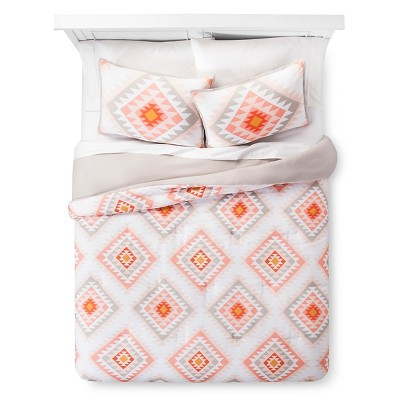 White & Blush Printed Diamond Triangle Comforter Set (Full/Queen)3pc - Xhilaration™