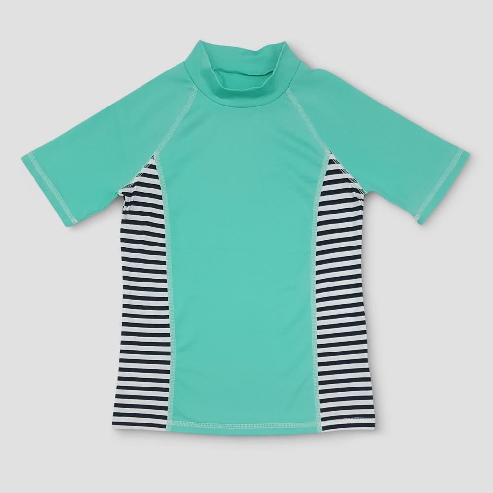 Girls Short Sleeve Rashguard - Cat & Jack Aqua XL, Blue