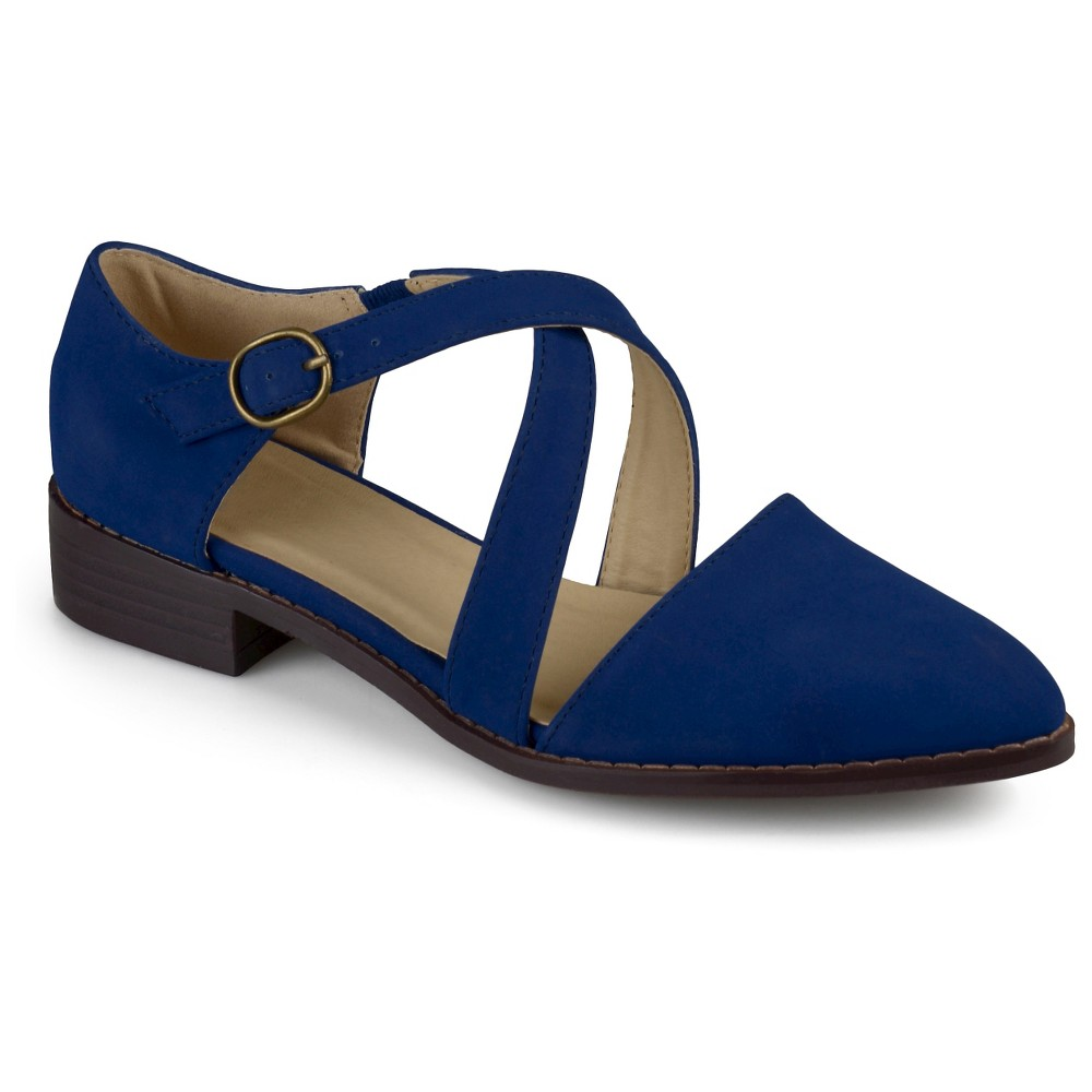 Womens Journee Collection Elina Dorsay Ankle Strap Flats - Blue 7