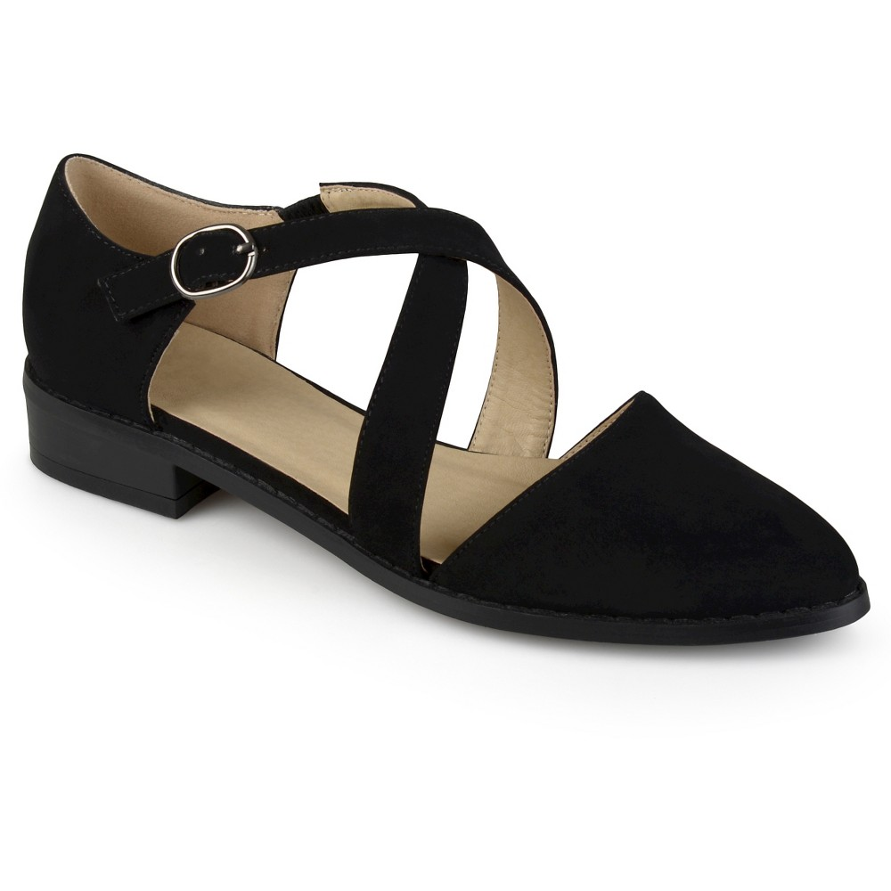 Womens Journee Collection Elina Dorsay Ankle Strap Flats - Black 6