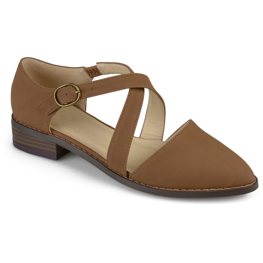 Womens Journee Collection Elina Dorsay Ankle Strap Flats - Taupe 11, Taupe Brown