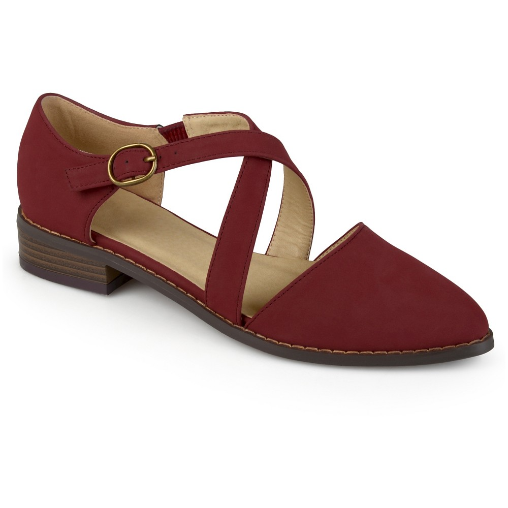 Womens Journee Collection Elina Dorsay Ankle Strap Flats - Wine 10, Red