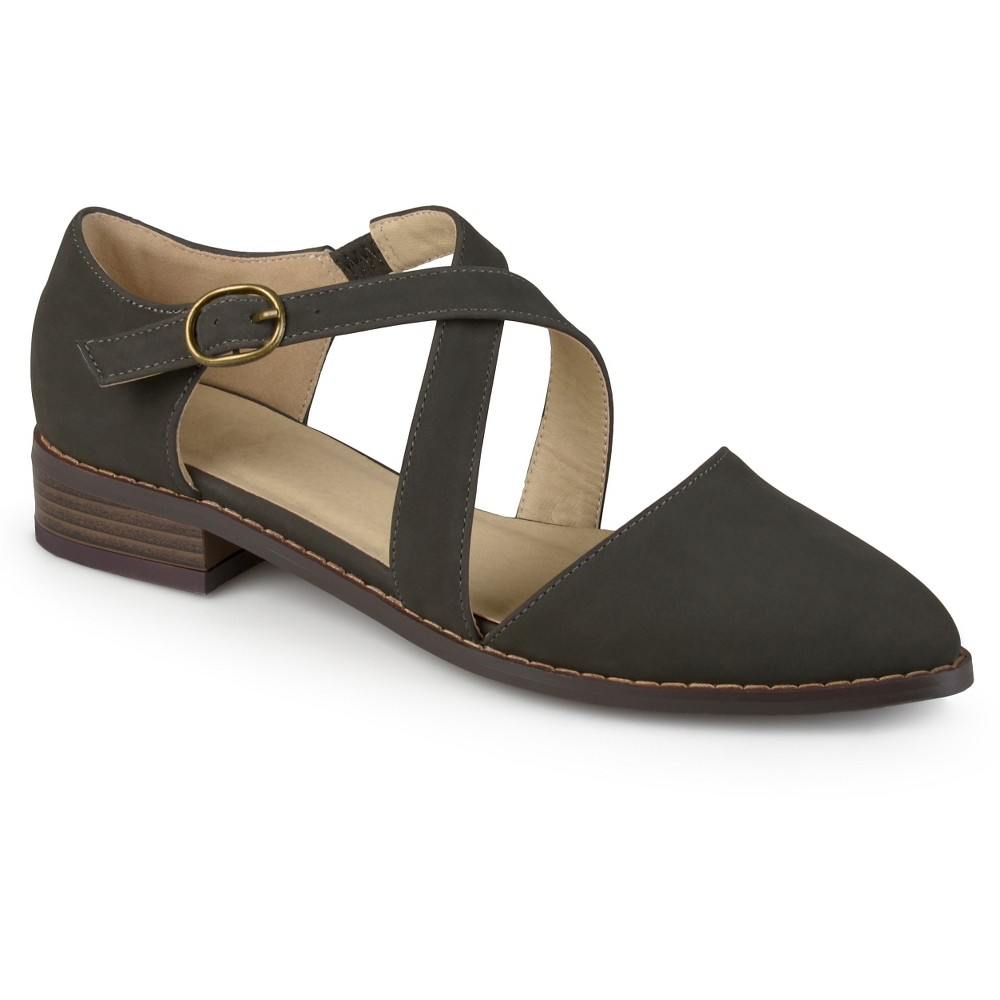 Womens Journee Collection Elina Dorsay Ankle Strap Flats - Gray 8.5