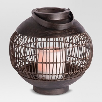 Outdoor Vertical Lantern with Candle Rattan Weave Small - Threshold™