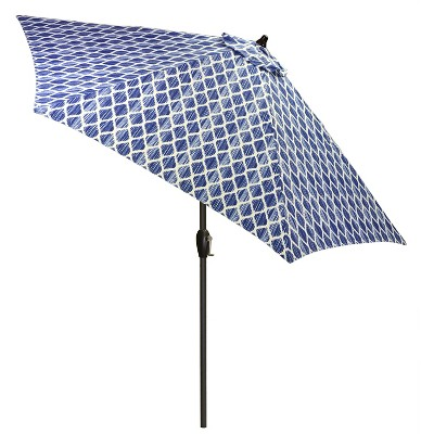 9' Round Umbrella - Brushed Diamond Blue - Black Pole - Threshold™