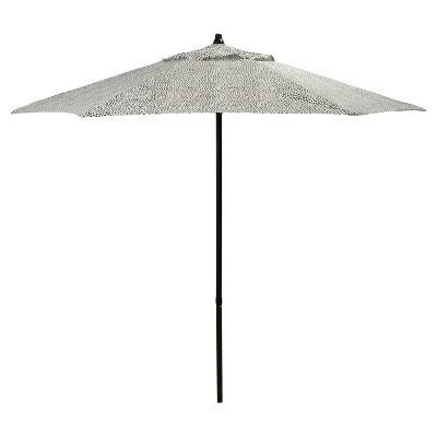 7.5' Round Patio Umbrella - Black Dots - Black Pole - Room Essentials™