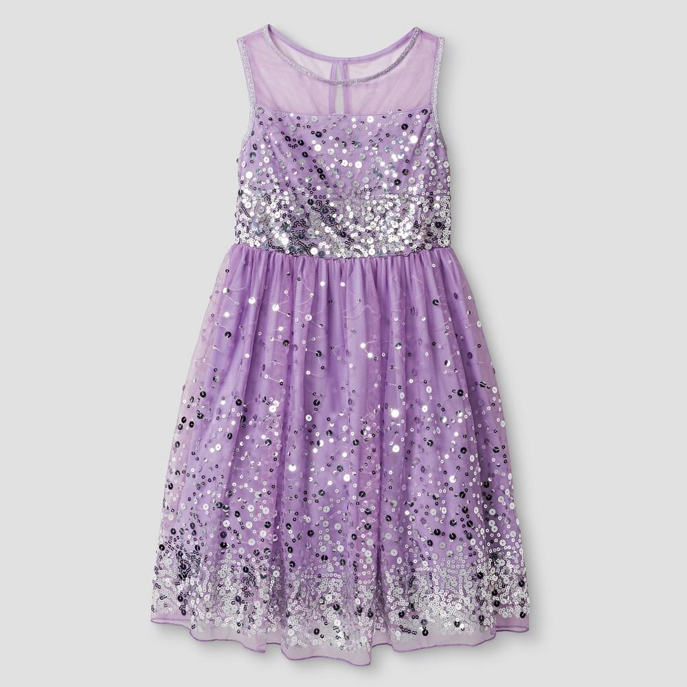 Girls' Lots of Love Sequin Skater Dress -Purple/ Silver 10, Women's, Silver Purple
