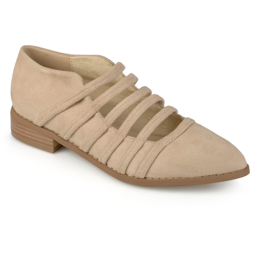 Women's Journee Collection Otto Strappy Almond Toe Flats - Nude 10