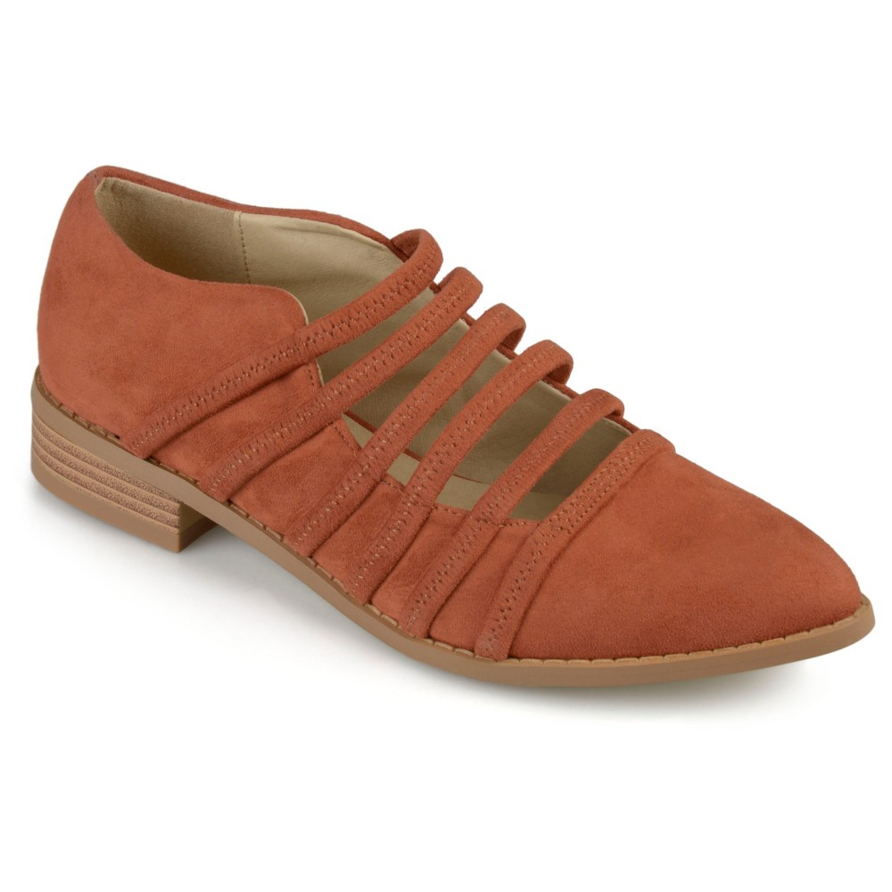 Womens Journee Collection Otto Strappy Almond Toe Flats - Rust (Red) 7
